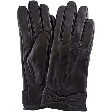 c12ed84a3 Ladies Butter Soft Preminum Leather Glove with bow & 3 Point Stitch design  - Black -