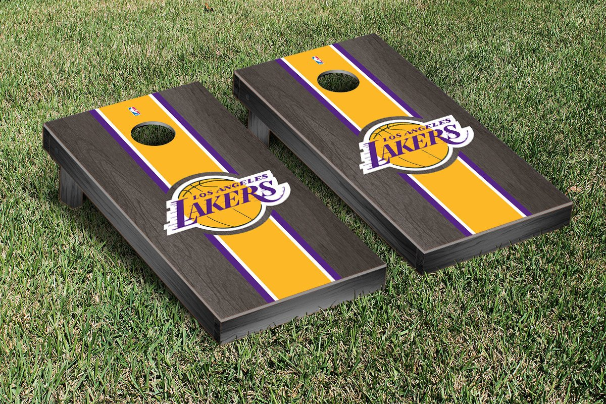 Los Angeles LA Lakers NBA Basketball Cornhole Game Set Onyx Stained Stripe Version