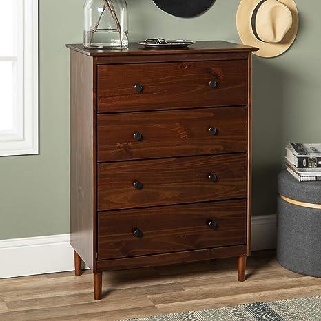 Amazon.com: WE Furniture AZR4DDRWT - Vestidor (nogal, 30.0 ...
