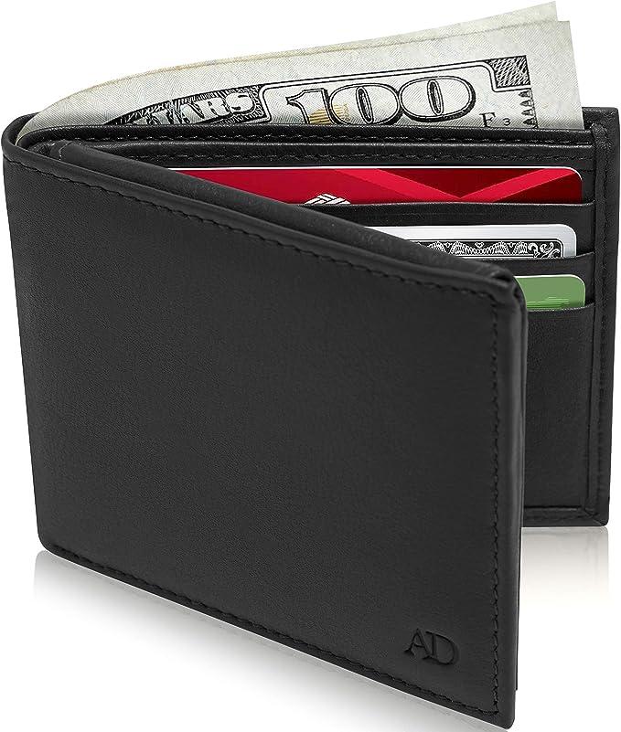 Gostwo Mens Slim Minimalist Front Pocket Wallet Genuine Leather ID Window Card Case RFID Blocking Black Cros
