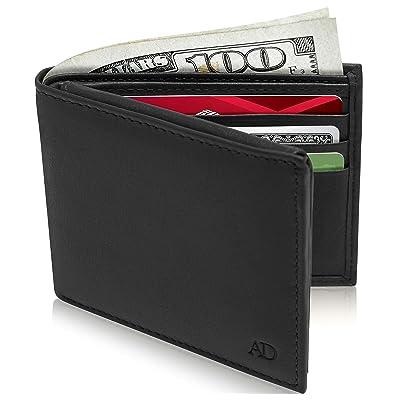 Men/'s RFID Top Grain Slim Leather Bi Fold Minimalist Wallet