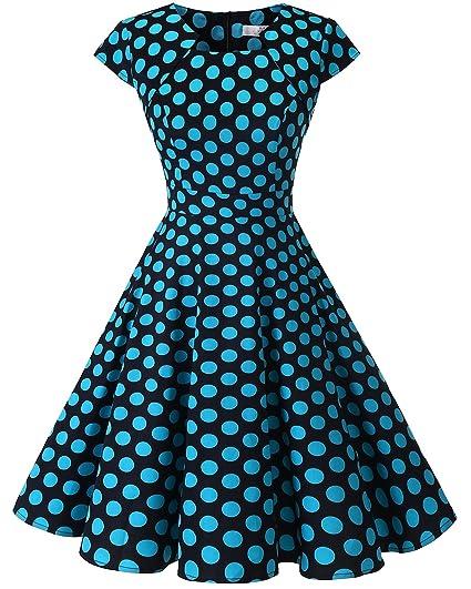 2b574b54e997 HomRain Women 1950s Vintage Cap Sleeve Rockabilly Prom Cocktail Swing Dress  Black Blue Big Dot XS