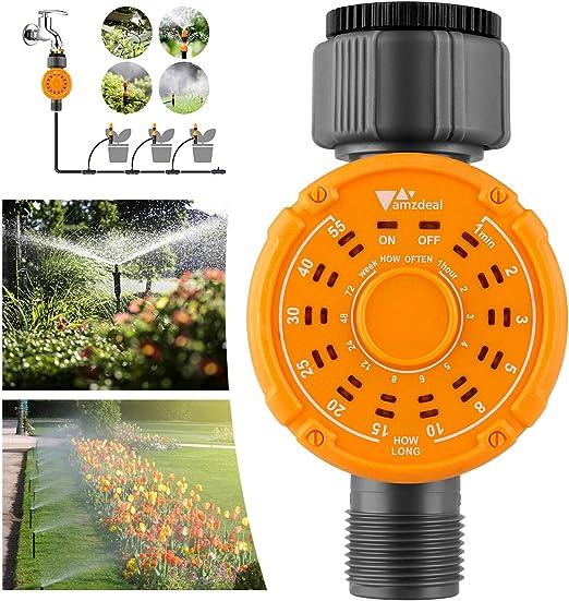 amzdeal Temporizador de Riego, Temporizador de Agua Digital, Programador de Riego, Controlador Automático de Riego, Riego Multifuncional para Jardín, Césped, Planta de Invernadero: Amazon.es: Jardín