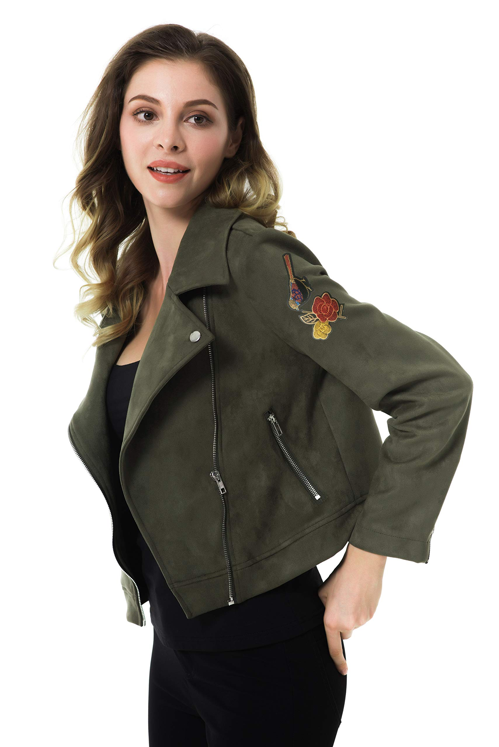 Apperloth Floral Print Faux Suede Jackets Long Sleeve Zipper Army Green Black Coat for Women