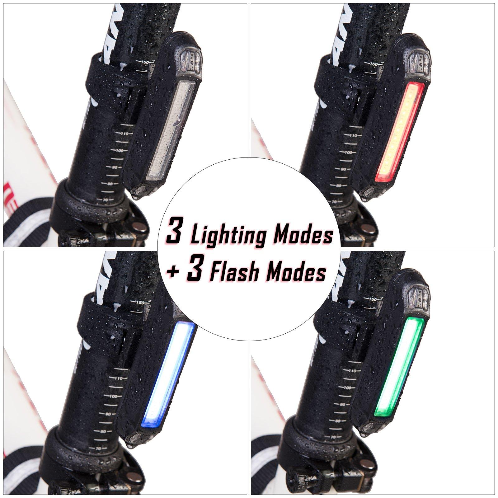 Taktik Super Bright Bike Lights Set Rechargeable - Safety 500 Lumens Front and Back Bicycle Lights 2000 mAh Waterproof LED Bike Light For Bike,Road Bike,Mountain Bike,Light Bike Night Rider by Taktik (Image #5)