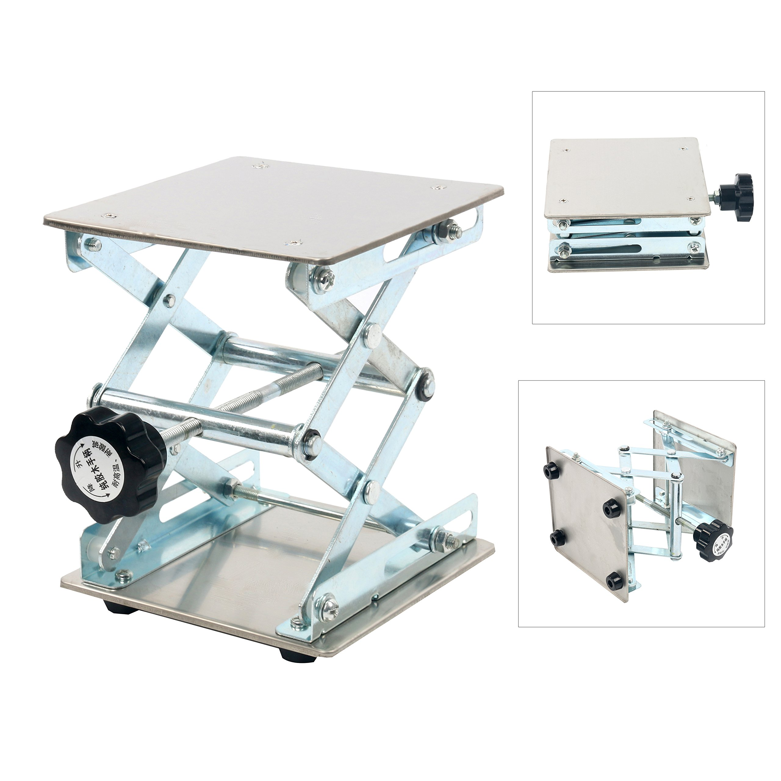 YaeTek 6 x 6'' Lab Jack - Heavy Duty Laboratory Scissor Jack - Stainless Steel Platform Lab Stand Table Scissor Lift laboratory Jiffy Jack (6 Inch by 6 Inch)
