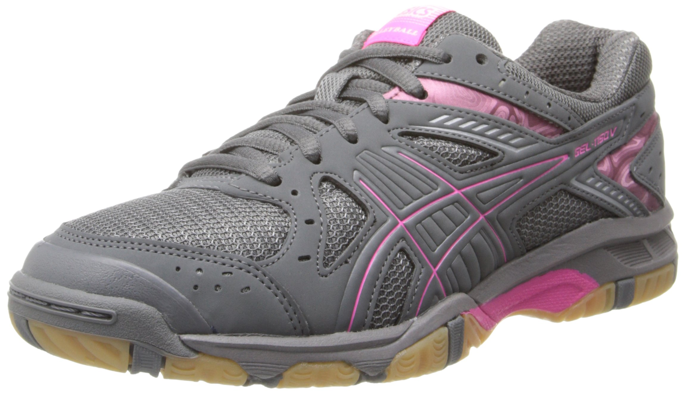 ASICS Women's Gel 1150V Volley Ball Shoe,Smoke/Knock Out Pink/Silver,8 M US