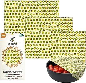 Beekinn Beeswax Food wrap - 3 pack, organic wraps - natural & eco friendly,100% organic cotton, alternative to plastic, Reusable food Wraps, perfect Food Storage - Set of 3 Sizes-S, M, L (green kiwi)
