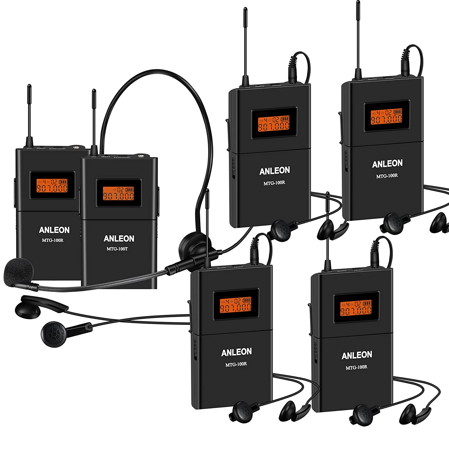 Anleon 902mhz-927mhz Tour Guide Wireless System Church System translation equipment simultaneous interpretation equipment 1 Transmitter and 5 Receivers