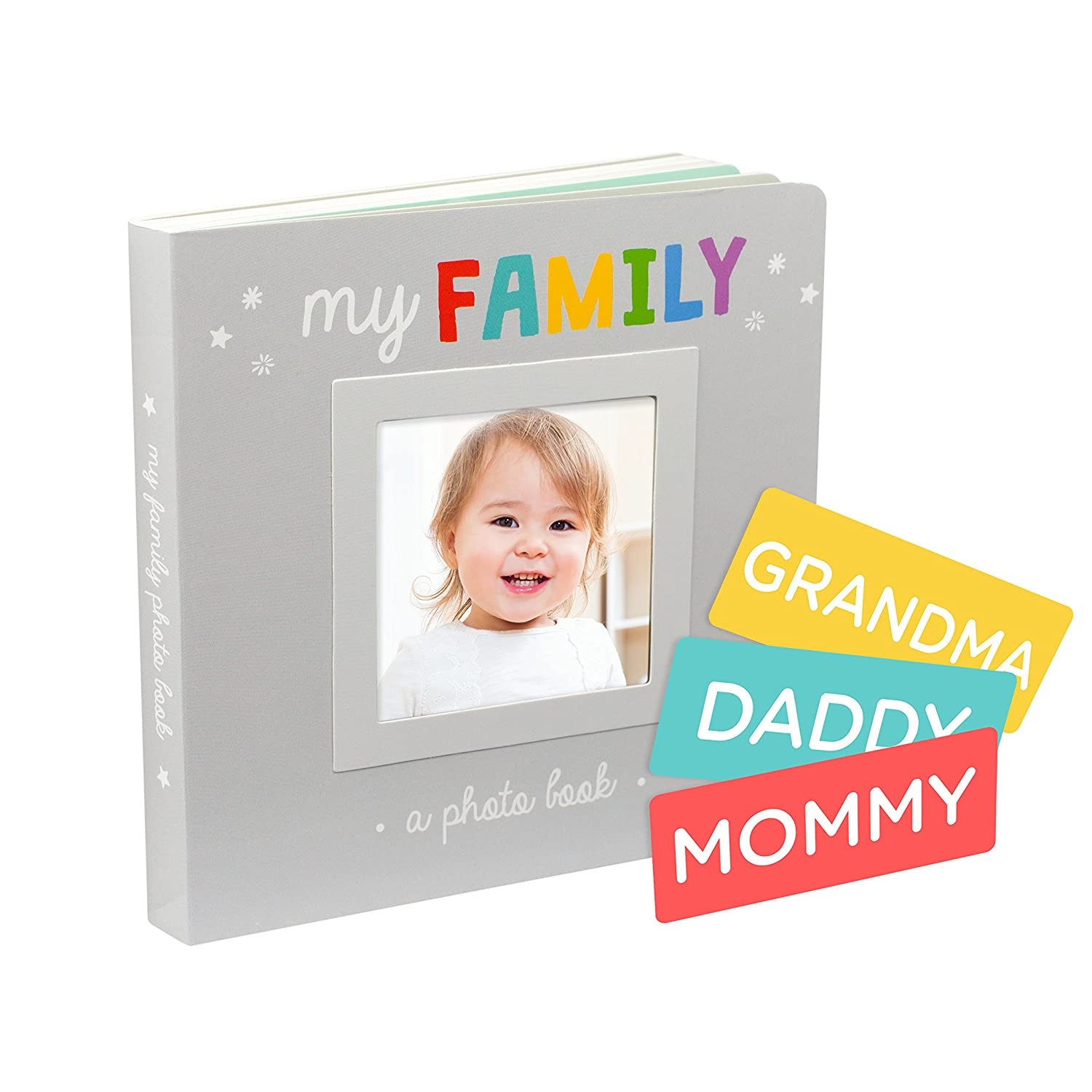 Pearhead My Family Photo Album Keepsake Board Book Style for Baby and Family, Gray 72042