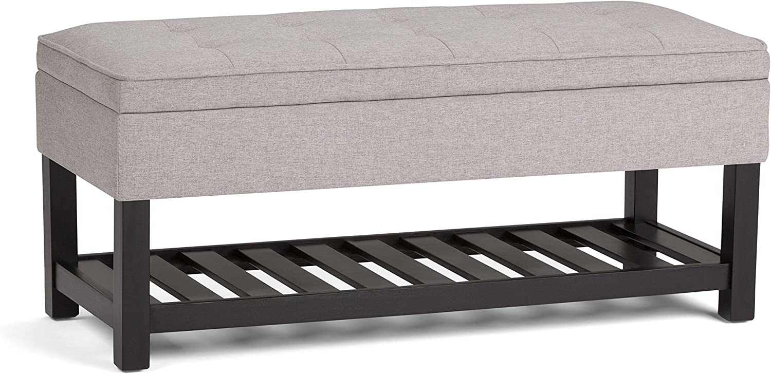Simpli Home AXCCOS-OTTBNCH-01-CLG Cosmopolitan 44 inch Wide Traditional Rectangle Storage Ottoman Bench with Open Bottom in Cloud Grey Linen Look Fabric