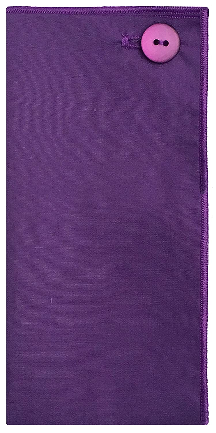 Dark Purple with Purple Button Mens Pocket Square The Detailed Male