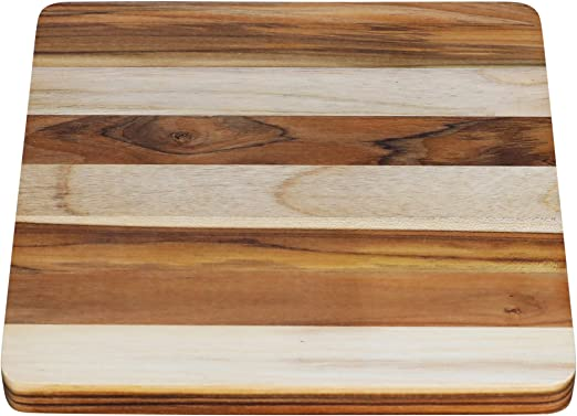 Amazon Com Terra Teak Cutting Board Medium Size 12x12 Inch Square Wooden Board Kitchen Dining