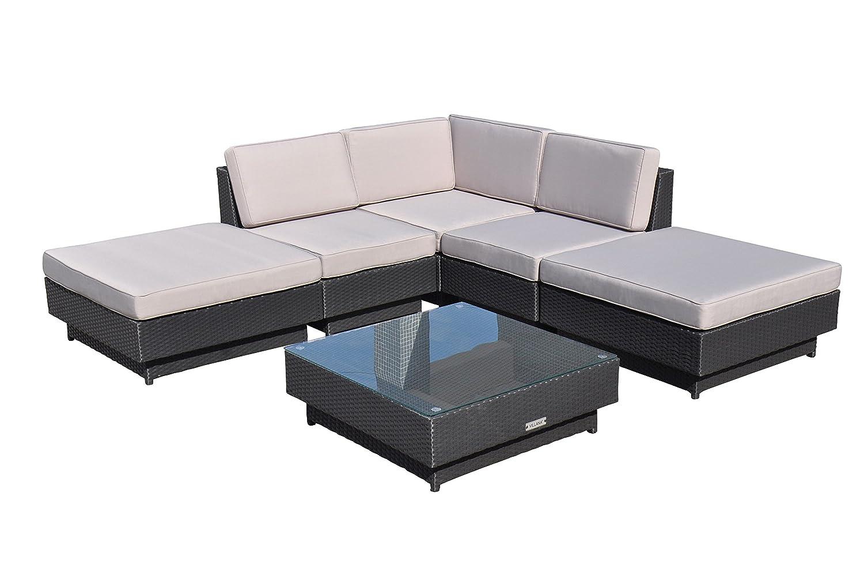 VILLANA exklusive Loungegruppe aus hochwertigem Polyrattan in schwarz, Teetisch mit Glasplatte 84 x 84 x 28 cm, inkl. Polster, Gartenlounge für 4 - 6 Personen, Sessel, Couch, Hocker, wetterfest