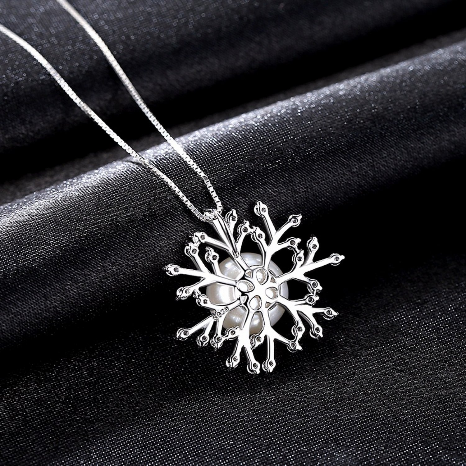 CS-DB Jewelry Silver Classic Clear Zircon Snowflake Chain Charm Pendants Necklaces
