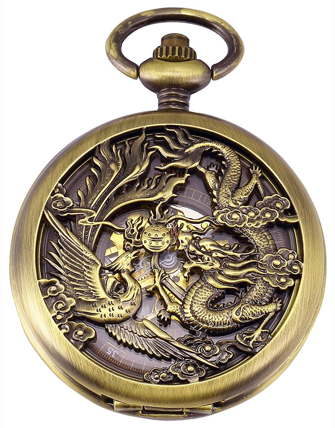 Carrie Hughes Men's Dragon Phoenix Engraving Steampunk Skeleton Mechanical Pocket Watch with Chain CH223 3
