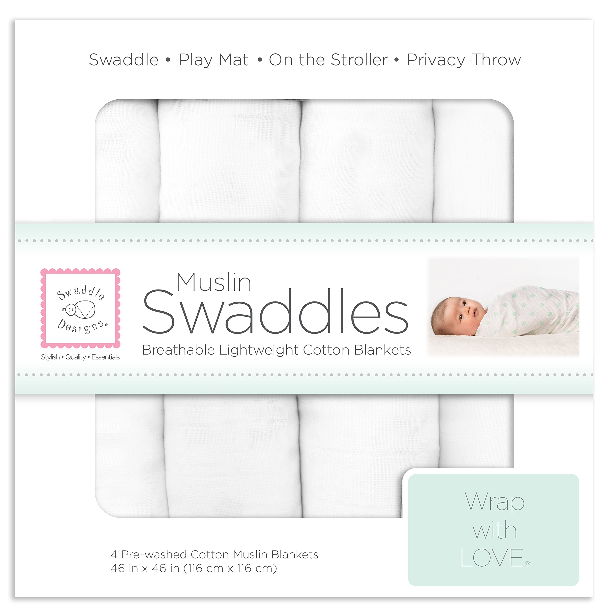 SwaddleDesigns Cotton Muslin Swaddle Blankets, Set of 4, Pure White (Parents' Picks Award Winner) by SwaddleDesigns