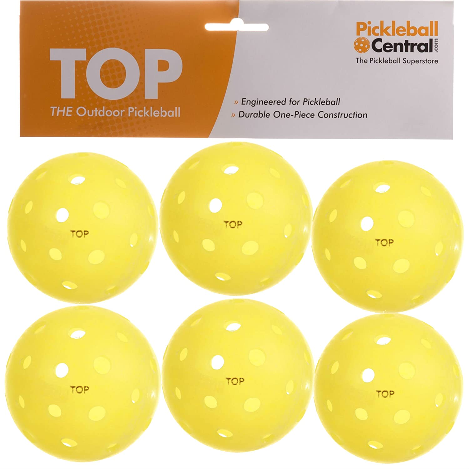 TOP ball (The Outdoor Pickleball) -6 count yellow by PickleballCentral 5M-DOUL-JNT4