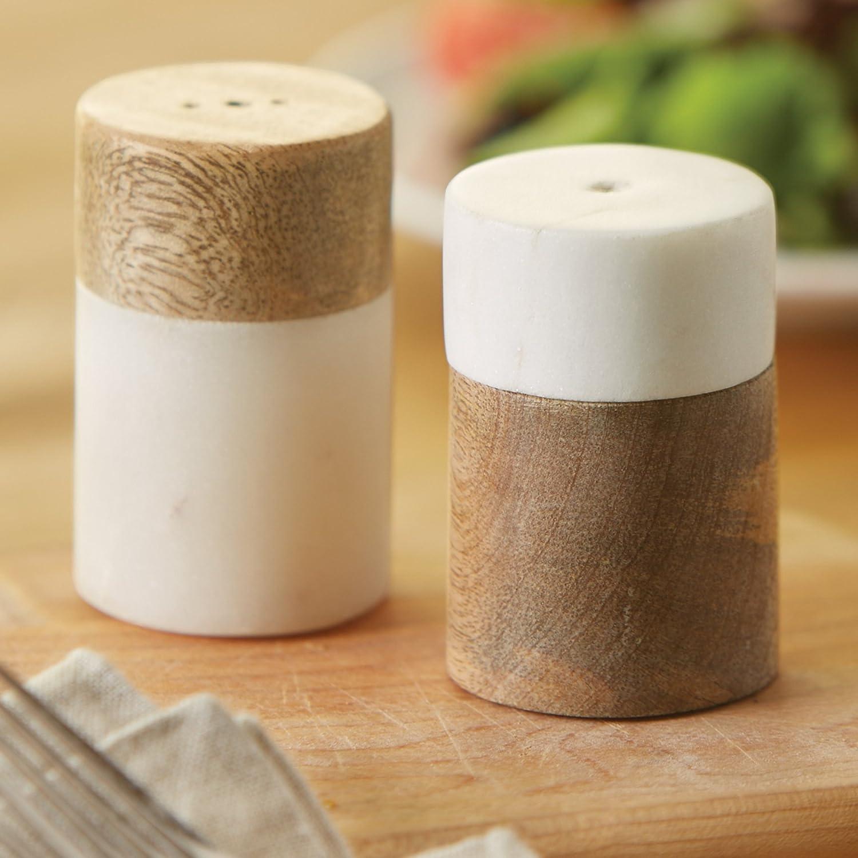 Mud Pie Marble /& Mango Wood Salt /& Pepper Shaker Set White