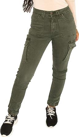 Miss Anna Pantalon Cargo Con Puno Para Mujer Pantalones Cargo Estilo Slim Verde 38 Amazon Es Ropa Y Accesorios