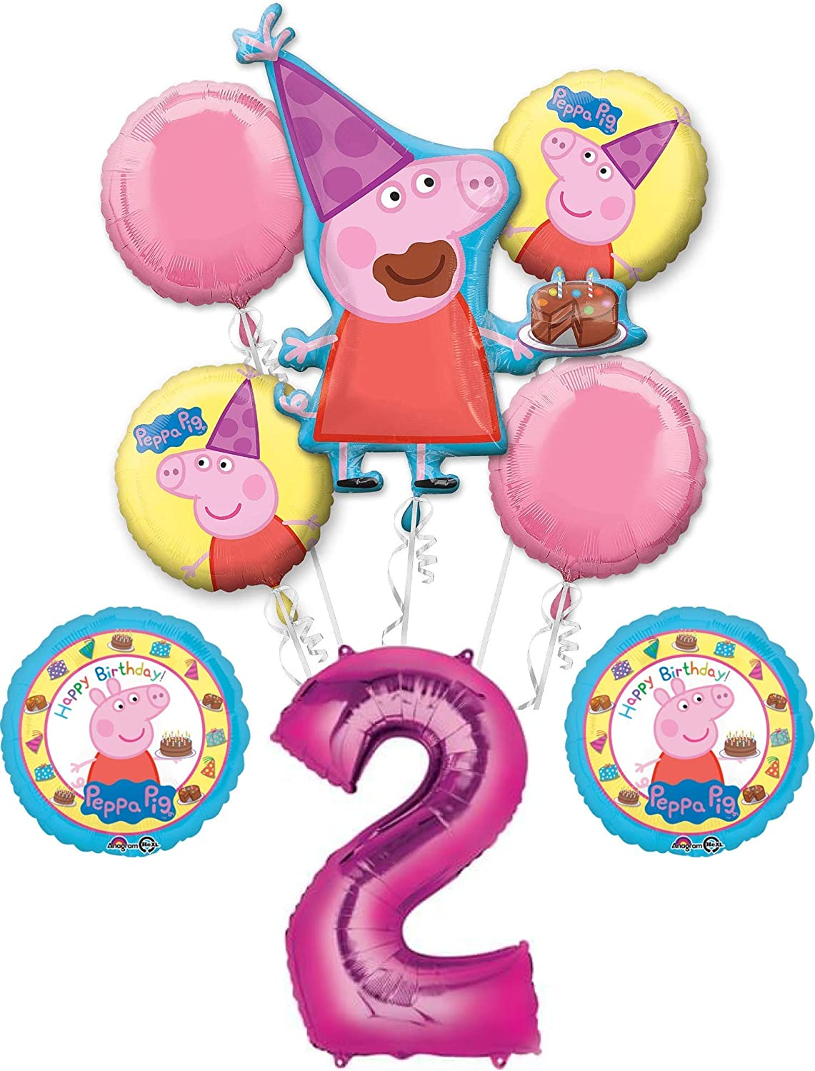 Peppa Pig 2nd Birthday Party Balloon Bouquet Bundle, for 2 Year Old, Includes 8 Balloons