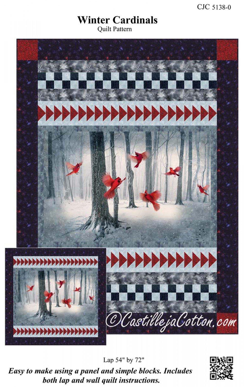 Winter Cardinals Quilt Pattern from Castilleja Cotton 54 x 72 CJC-5138-0