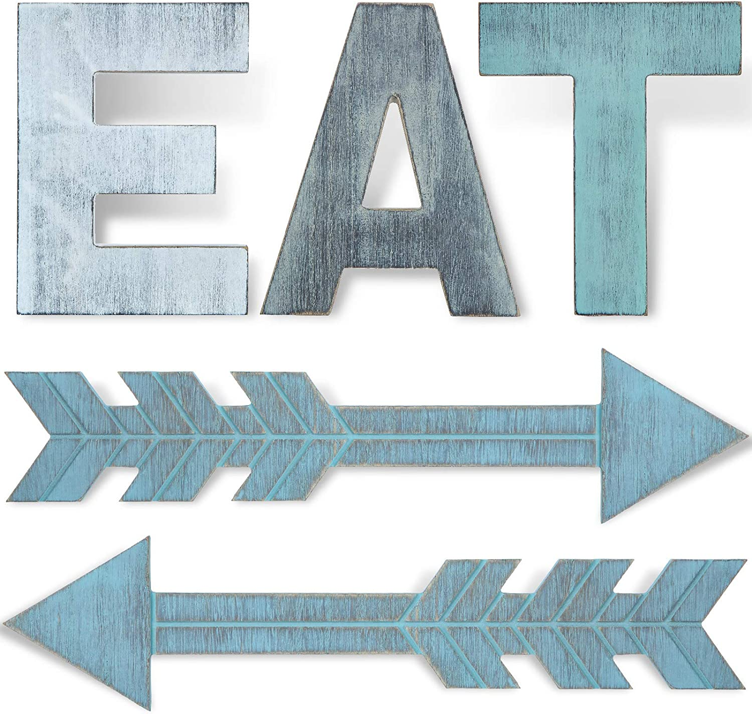 5 Pieces EAT Sign Kitchen Wood Rustic Sign Arrow Wall Decor EAT Farmhouse Decoration Hanging Arrow Wooden Sign for Kitchen Wall Home Dining Room