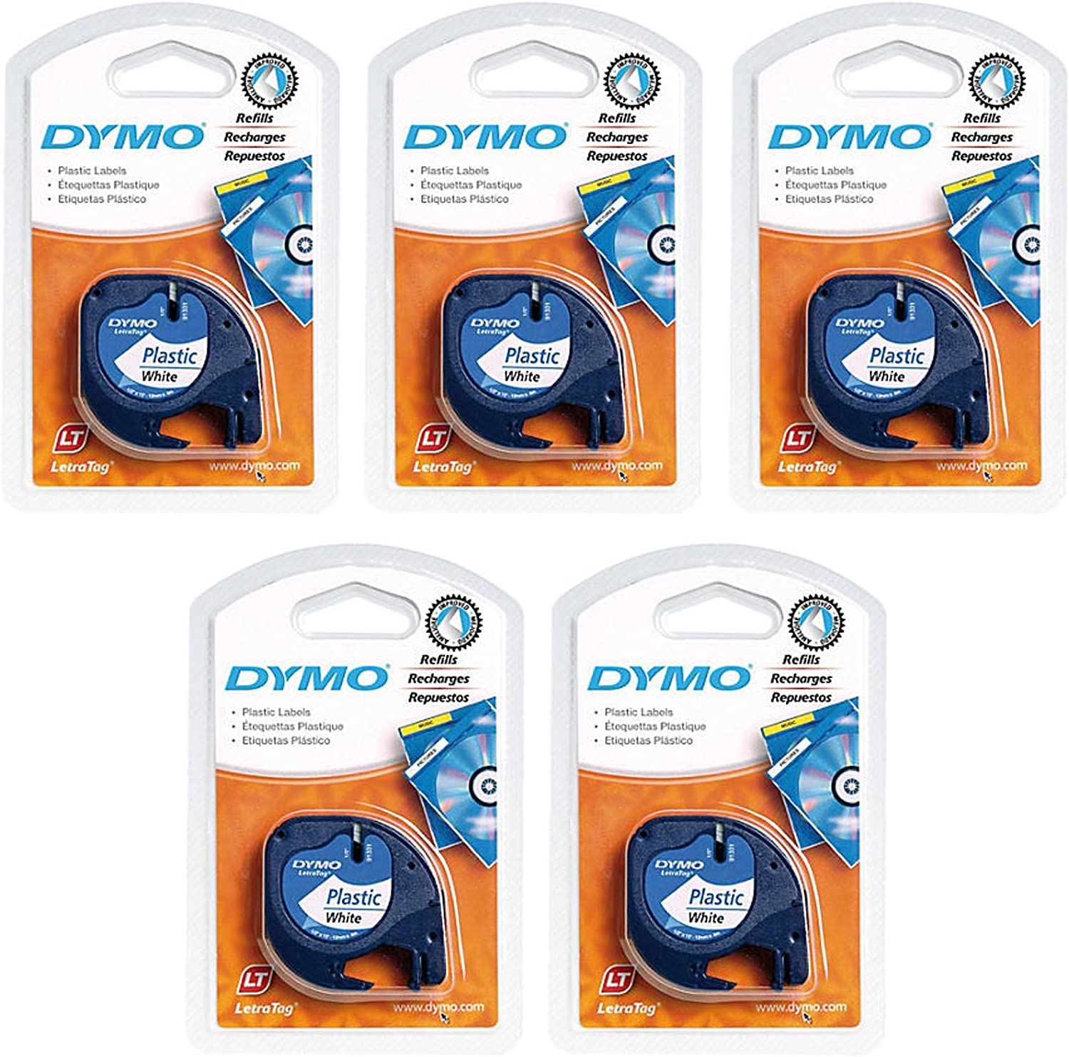 DYMO 91331 LT Plastic Tape Cassette for LetraTag Label Makers, Packaged in Easy-to-Load Cassettes, 1/2-inch x 13 Feet, Black on White, Pack of 5