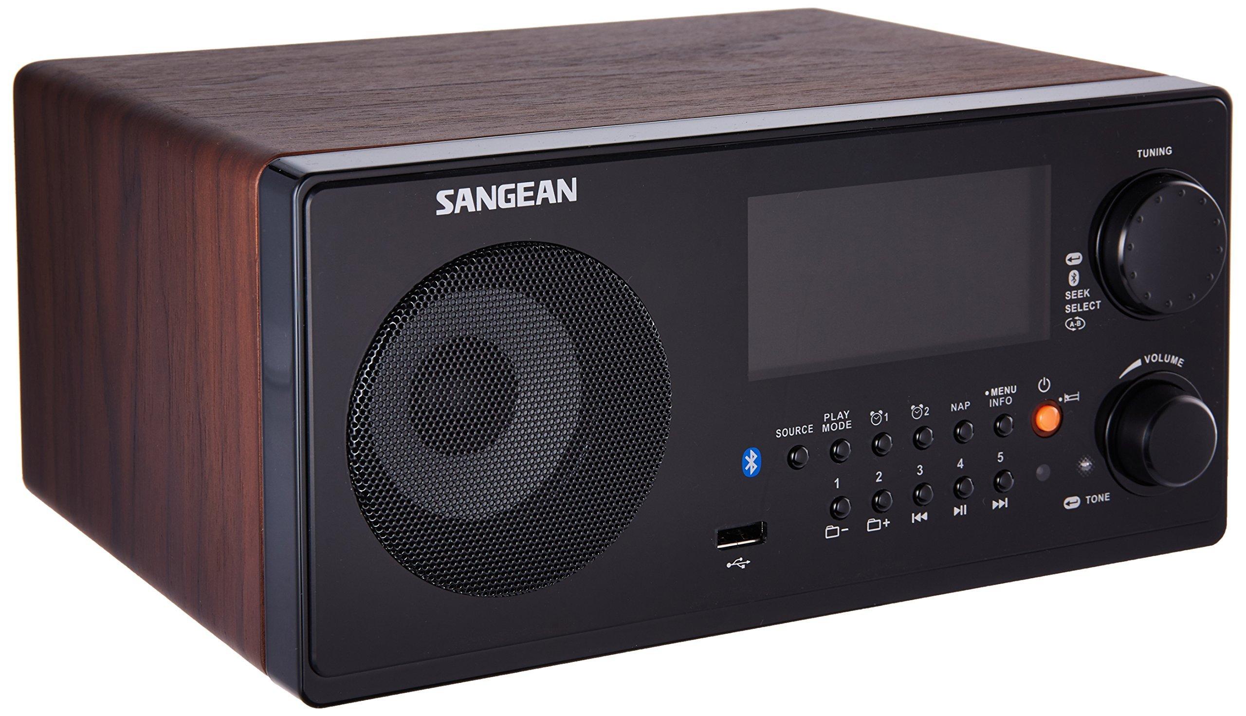 Sangean WR-22WL AM/FM-RDS/Bluetooth/USB Table-Top Digital Tuning Receiver (Dark Walnut) (Renewed)