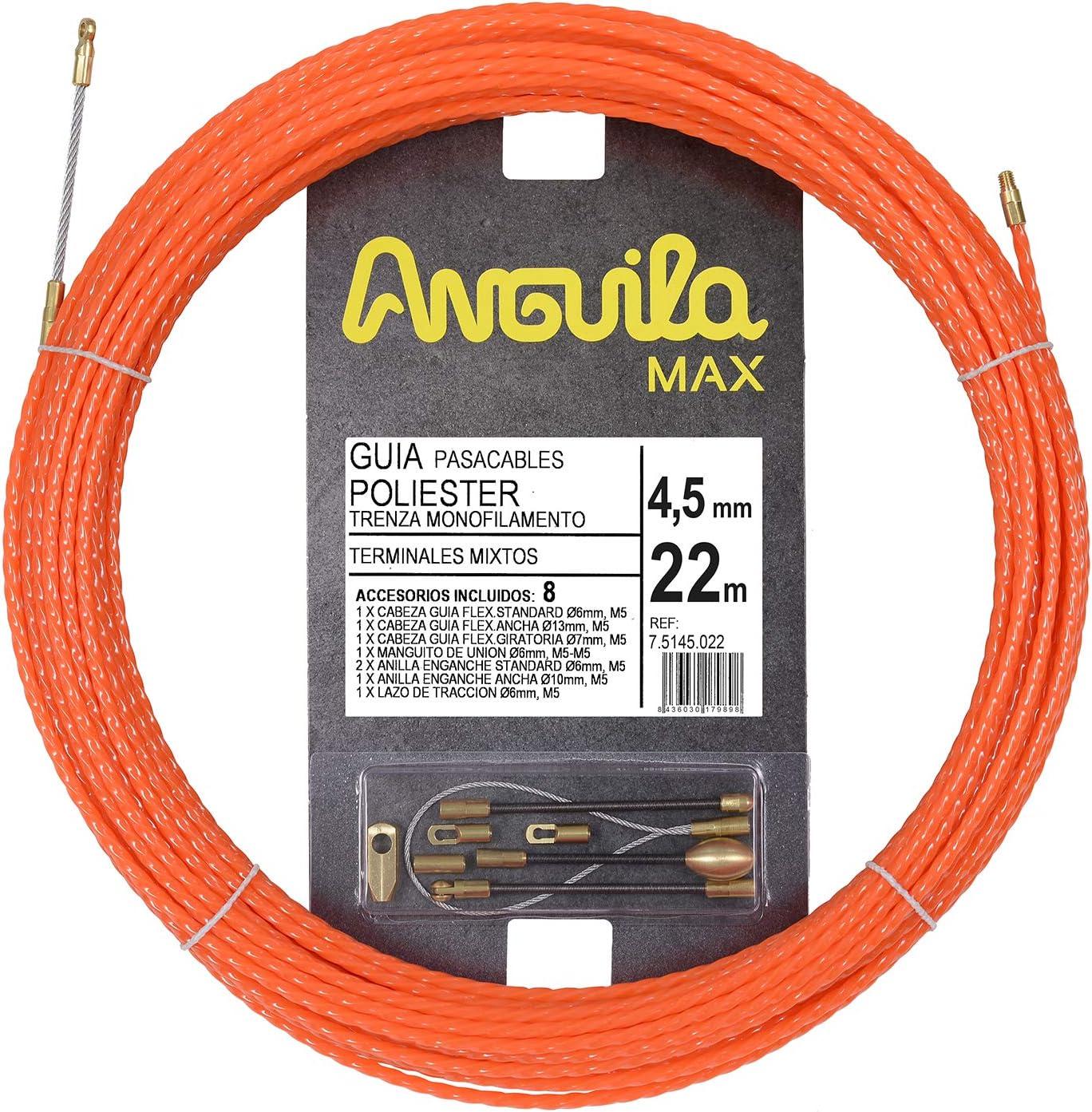 Anguila Max 7.5145.032 Gu/ía pasacables Especial Rectas Poli/éster Trenzada Monofilamento 4,5mm 32 Metros y terminales Mixtos Naranja