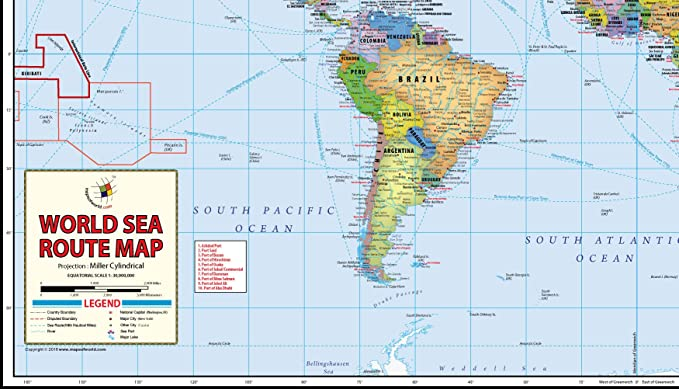 Amazon Com World Sea Routes Map 48 W X 28 19 H Office Products