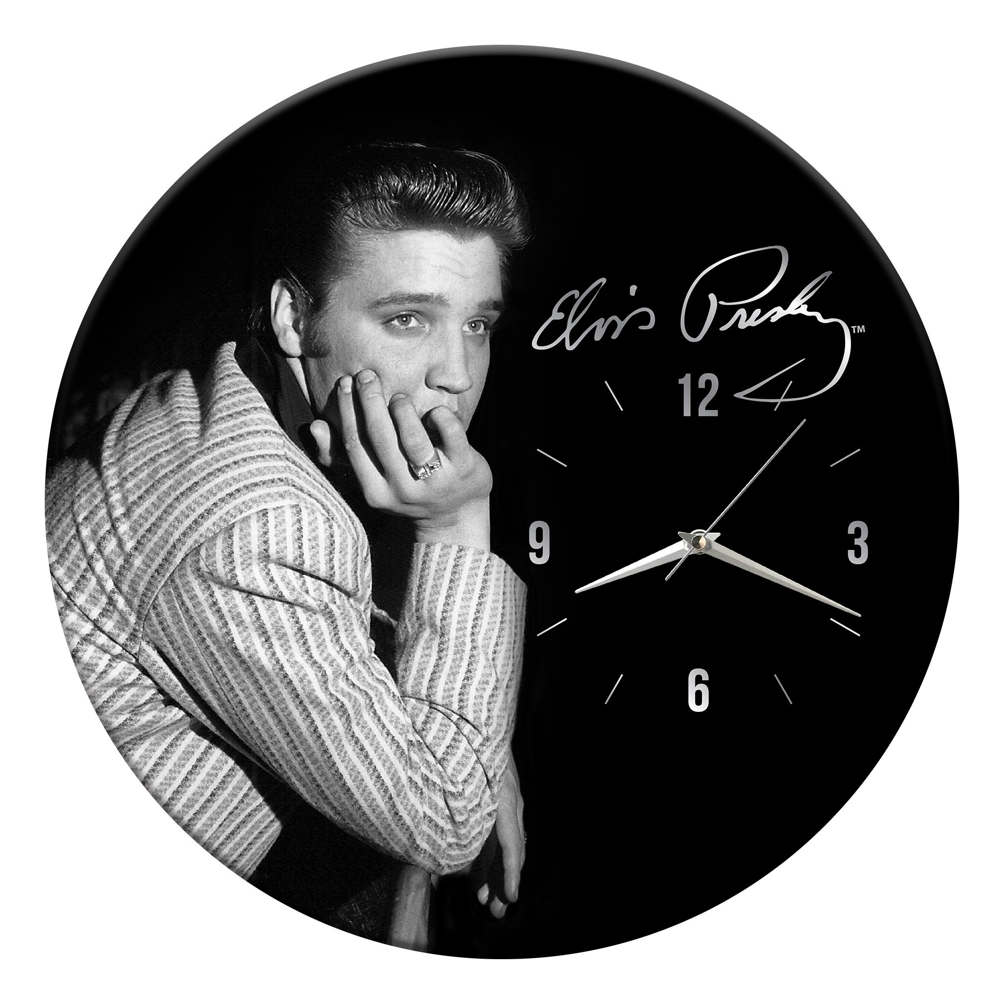 Vandor Elvis Presley 13.5 inch Cordless Wood Wall Clock, 13.5 x 1.5 x 13.5 inches, Black/White (47189)