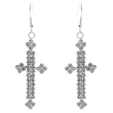 27b113fa0bbe geralin Gioielli - Pendientes plata cruz pendientes brillantes Fashion  or0000198  Amazon.es  Joyería
