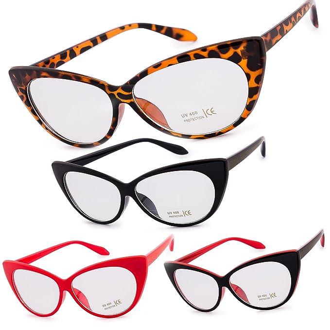 Dona Occhio di gatto occhiali lenti trasparenti con montatura Festa Fashion Party MFAZ Morefaz Ltd (Red) M735Q9tCY