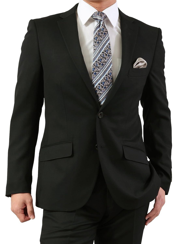 春夏 FICCE COLLEZIONE メンズ 2ツボタン スリムフィット スーツ B079QHN8GG Y体5号|ブラック ブラック Y体5号