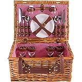 Cestino da picnic completo di articoli per la tavola in porcellana 4 persone cesto di vimini cestino da picnic salice in legno cestino da picnic in vimini set da picnic (LYP1801, rosso)