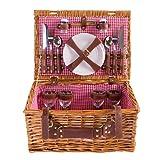 Picknick Korb komplett Porzellan Geschirr 4 Personen Weidenkorb Picknickkorb Weidenholz Weidenpicknickkorb Picknickset (LYP1801, Rot)