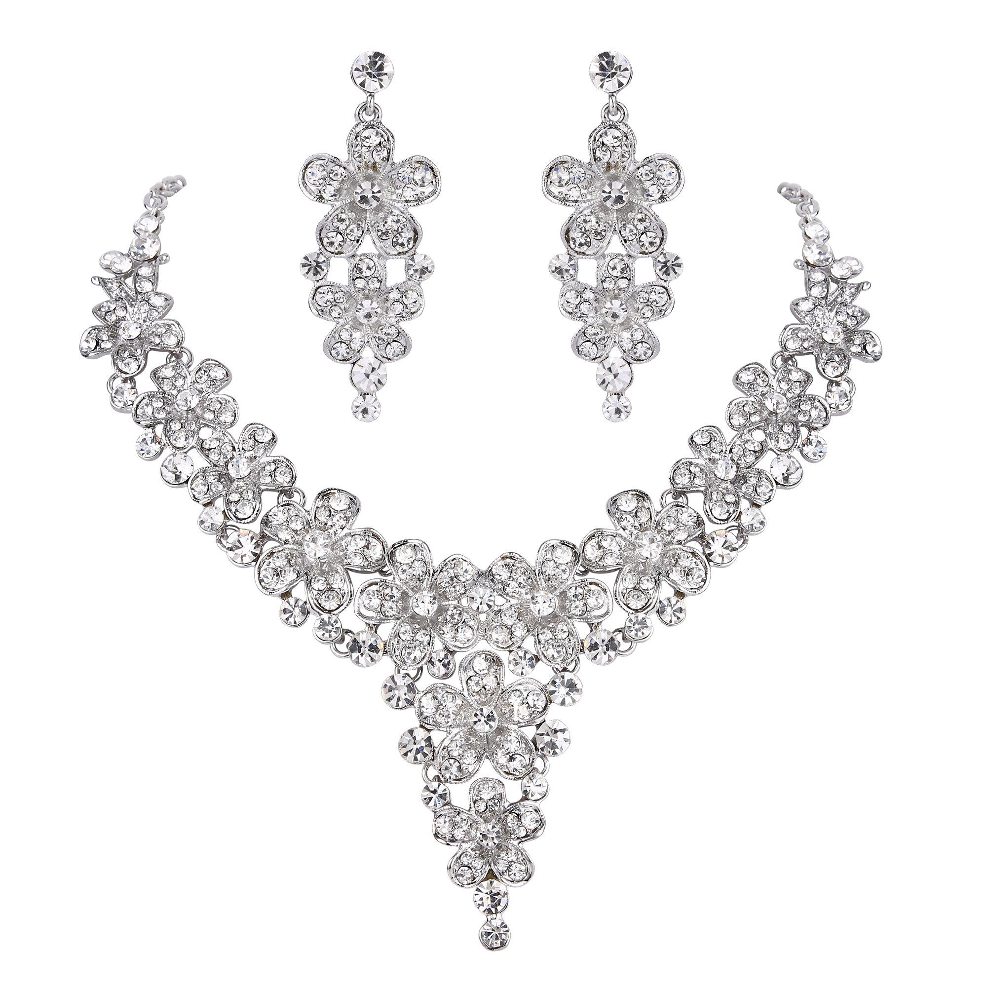 BriLove Women's Wedding Bridal Statement Necklace Dangle Earrings Jewelry Set with Crystal Multi Hibiscus Flower Clear Silver-Tone