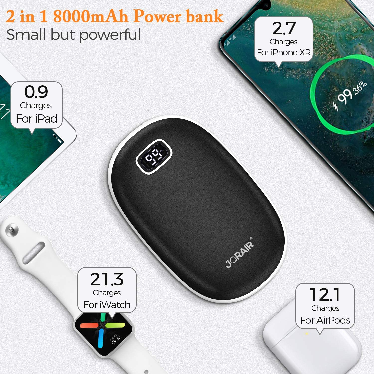 Fishing Skiing Camping 8000mAh Rechargeable Hand Warmer//Power Bank JORAIR Hand Warmers Hand Warmer with LED Screen for Outdoor Sports Hunting