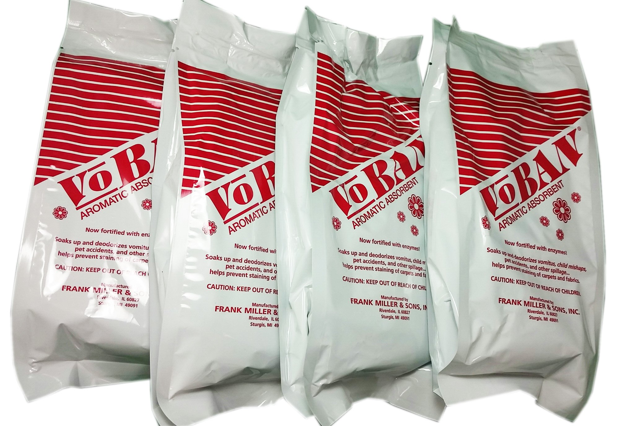 4 Qty - 1 lb Bags VOBAN Aromatic Absorbent with Enzymes - Deodorizes vomitus, child mishaps, pet accidents, spills, and helps prevent staining of carpets & fabrics
