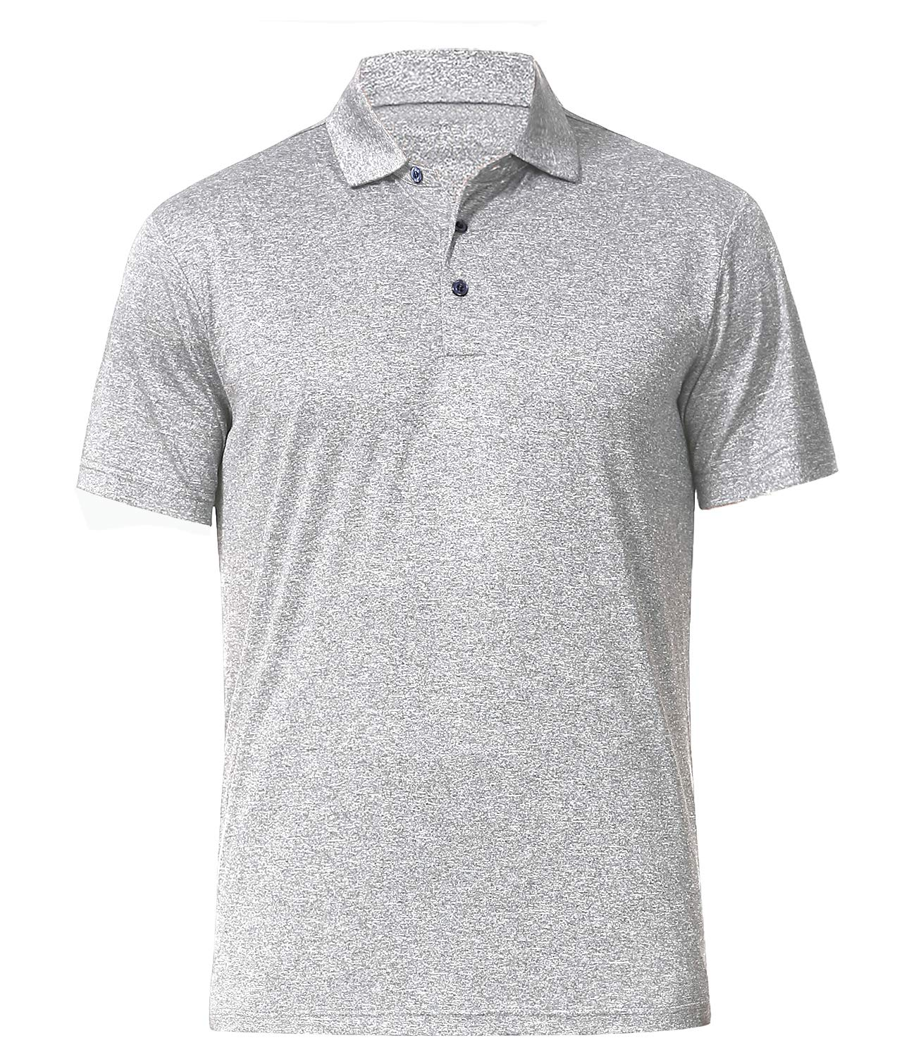 Men's Athletic Golf Polo Shirts, Dry Fit Short Sleeve Workout Shirt (M, Light Grey) by COSSNISS