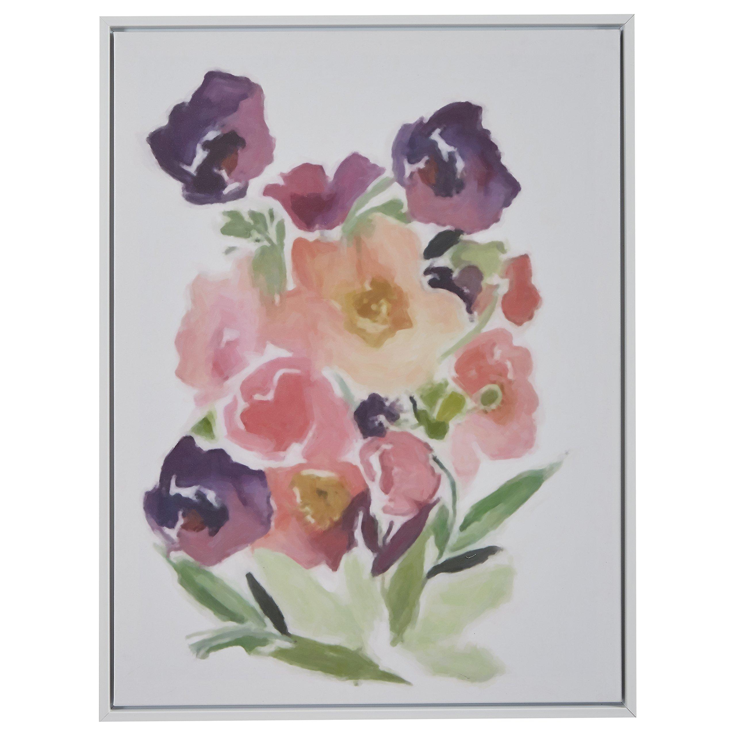 Modern Purple Floral Print, White Frame, 31.75'' x 41.75''