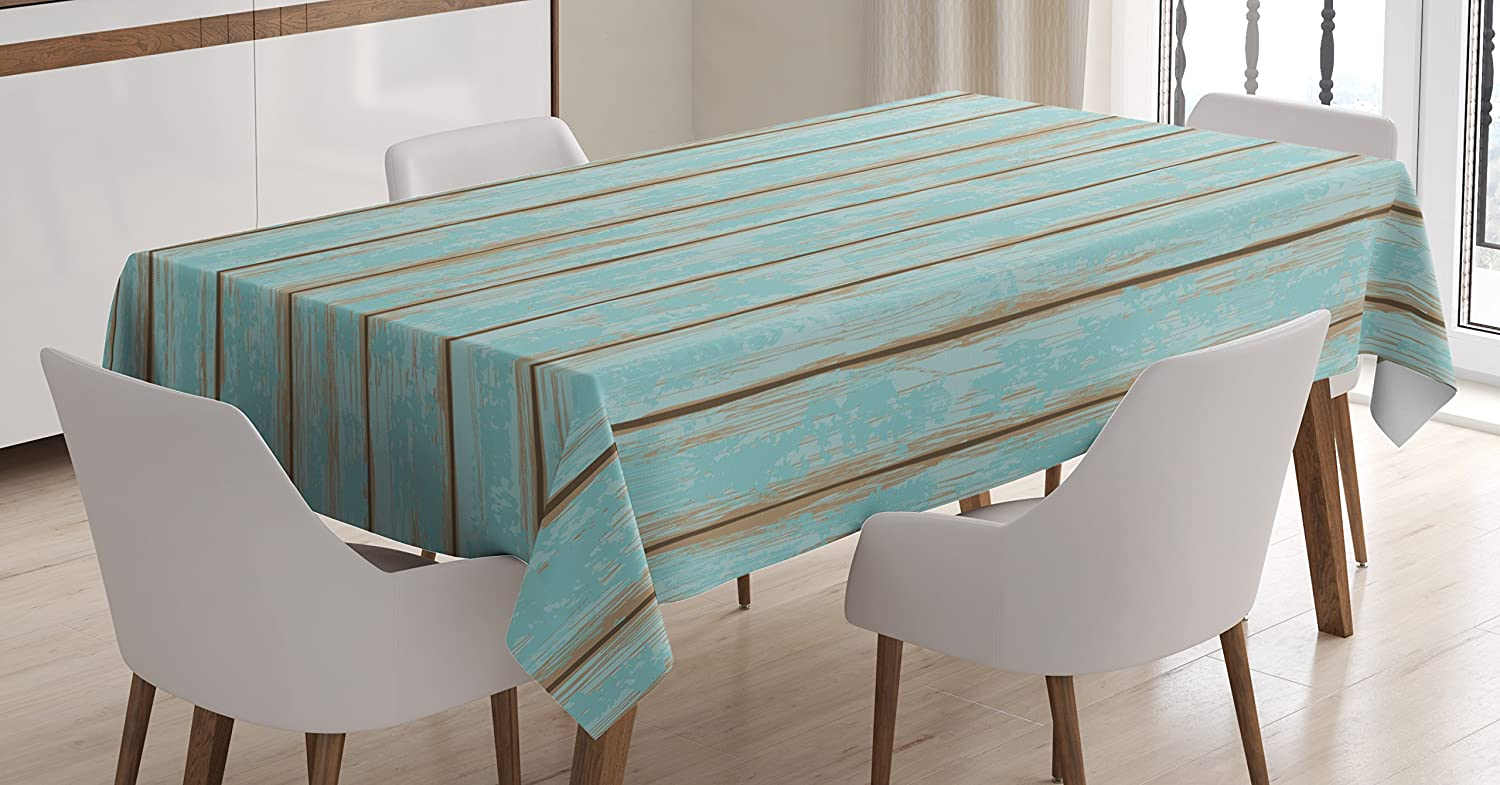 Lunarable Wood Print Tablecloth, Old Fashioned Weathered Rustic Planks Summer Cottage Beach Coastal Theme, Rectangular Table Cover for Dining Room Kitchen Decor, 52