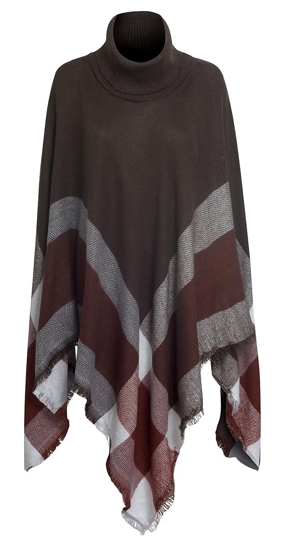 Women's Turtleneck Pullover Drape Poncho Sweater
