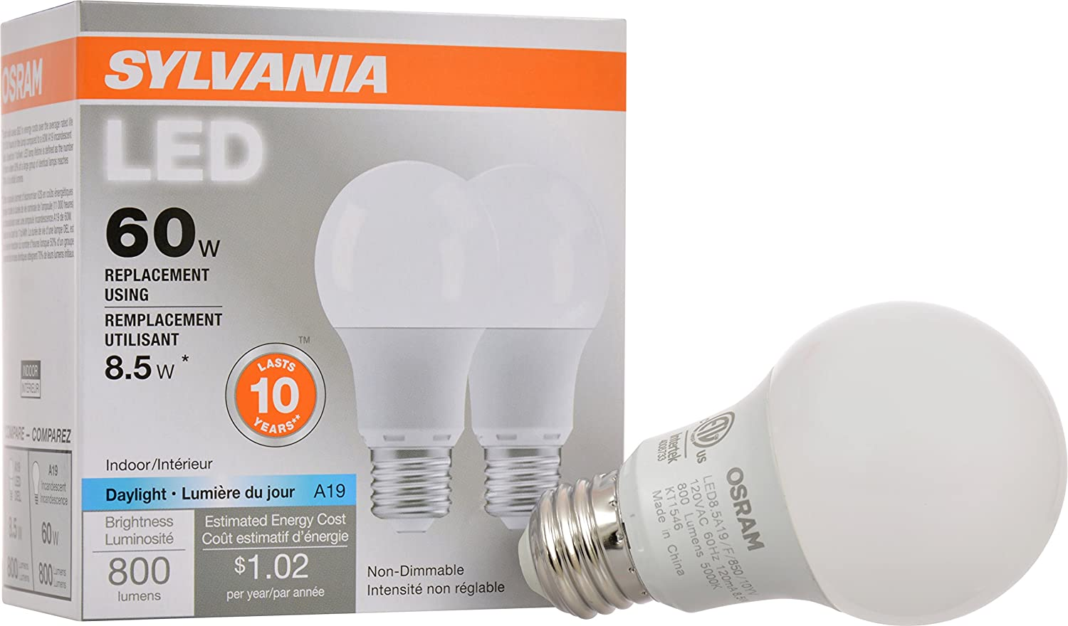 SYLVANIA, 60W Equivalent, LED Light Bulb, A19 Lamp, 2 Pack, Daylight, Energy Saving & Longer Life, Medium Base, Efficient 8.5W, 5000K
