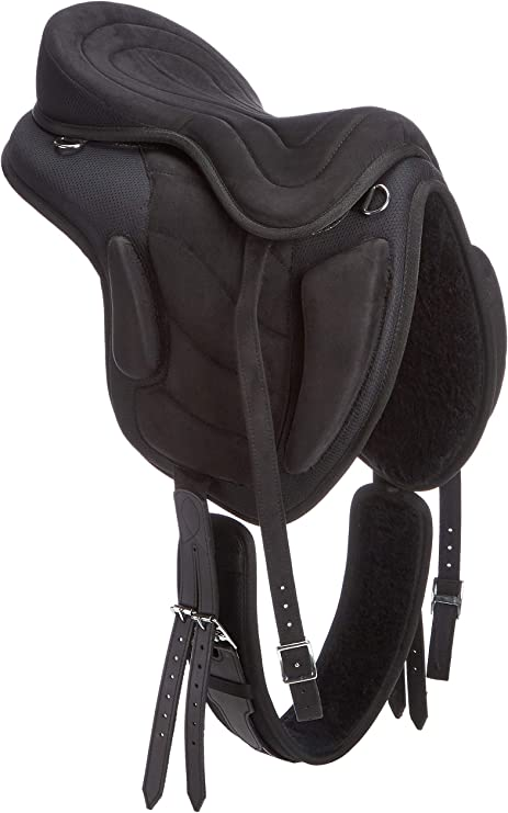 "Matching Girth Treeless Synthetic Saddles Blue//Black 16,17 /& 18/"""