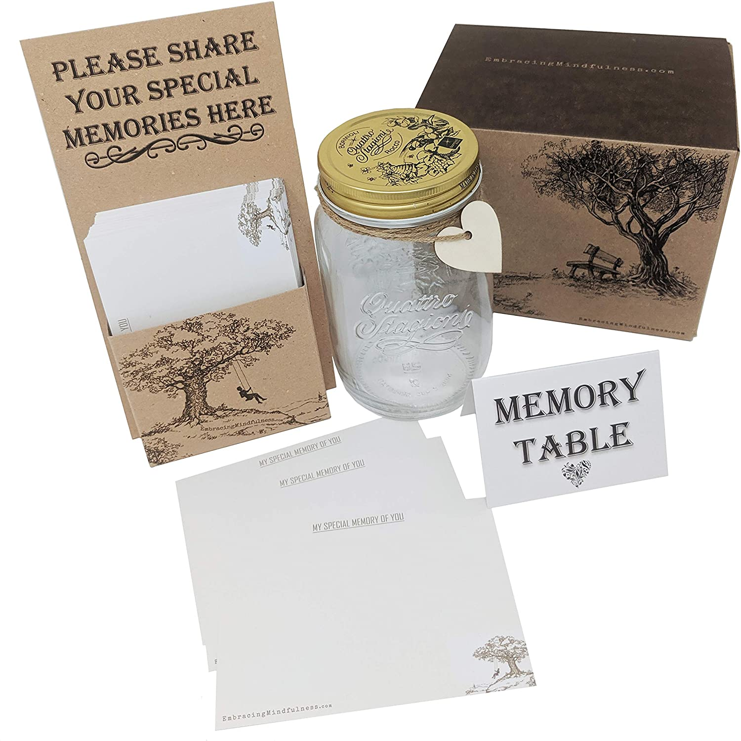 Embracing Mindfulness Memory Jar And 75 Remembrance Cards A Beautiful Alternative To A Funeral Condolence Book Amazon Co Uk Kitchen Home