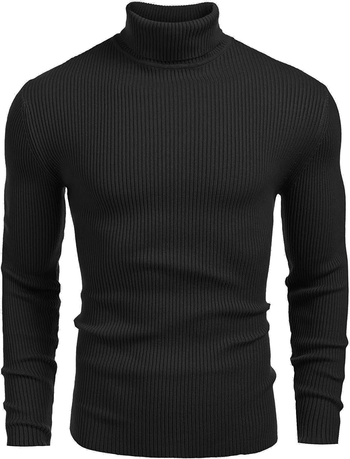 Coofandy Mens Turtle Neck Jumpers Ribbed Slim Fit Knitted Pullover Turtleneck Sweater Solid Color