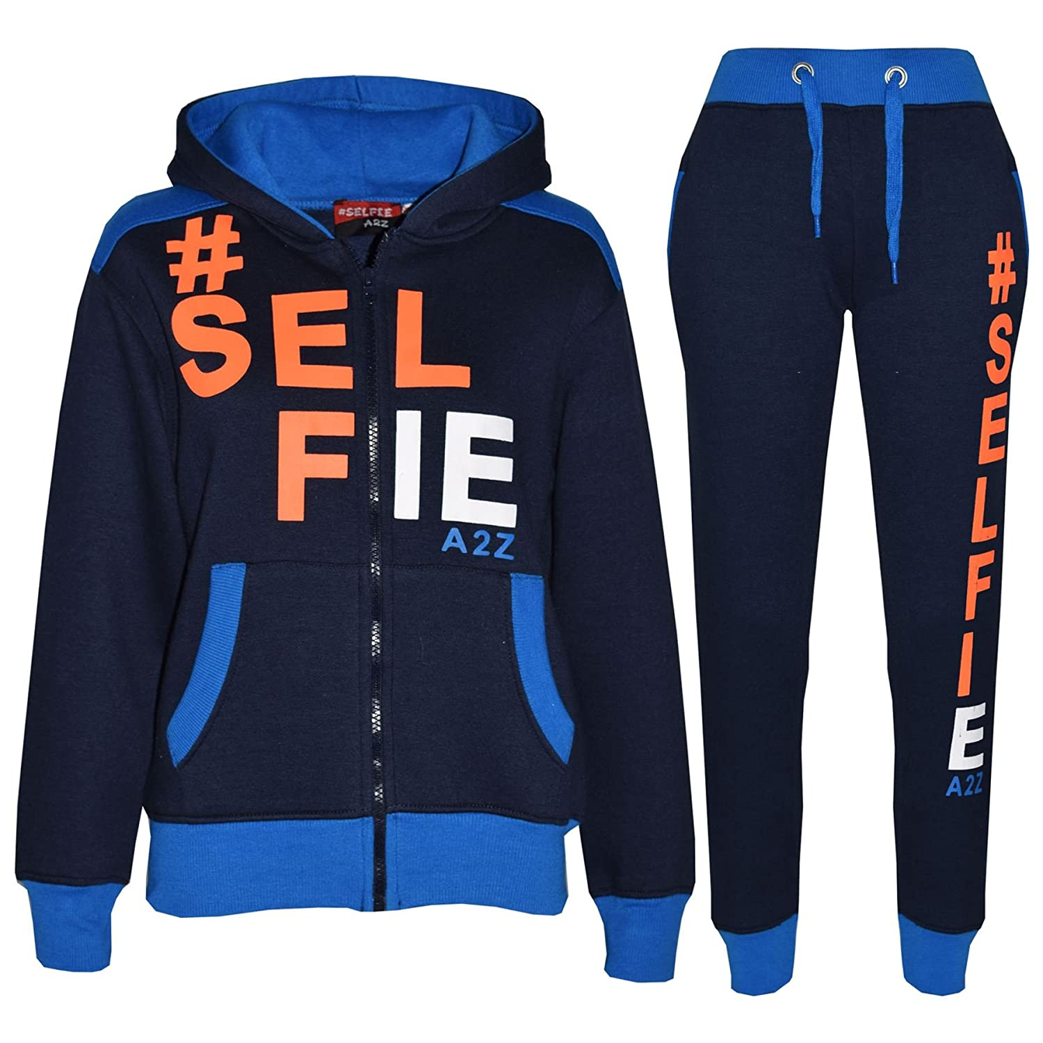 A2Z 4 Kids Girls Boys #Selfie Tracksuit Hooded Hoodie Bottom Jog Suit Joggers 7-13 Yr