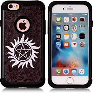 Iphone 6S Case,Iphone 6 Case - Supernatural Pentagram Black Pattern Shock-Absorption Hard PC and Inner Silicone Hybrid Dual Layer Armor Defender Protective Case Cover for Apple iphone 6 iphone 6S